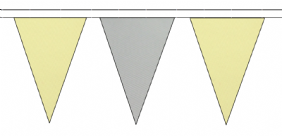 BEIGE AND GREY TRIANGULAR BUNTING - 10m / 20m / 50m LENGTHS